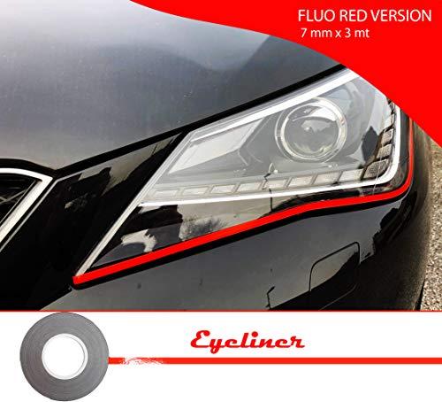 Quattroerre 10804 Stripes Adesive Eyeliner voor koplampen, auto, rood