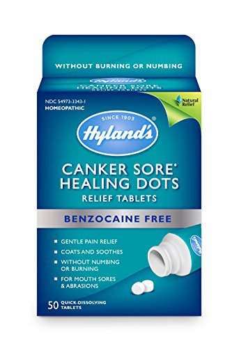 Canker Sore Relief Treatment by Hyland#039s Quick Dissolving Fast Natural Pain Relief of Mouth Ulcers and Oral Irritation Healing Dots Tablets 50 Count