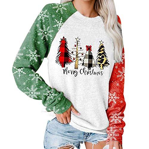 Sudadera Navidad Mujer Jersey Arbol Navideño Muñeco Nieve Feo Sudaderas Navideñas Mujer Divertido Pullover Navidad Ugly Jerseys Navideños Chica Sudadera Navideña Talla Grande Sueter Navideño Mujer L