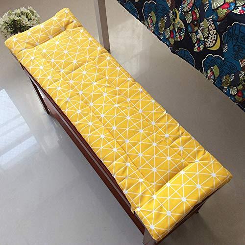 BoruisX - Cojín largo para banco, cómodo y con lazos de fijación, cojín rectangular suave para interior y exterior, jardín, columpio y patio