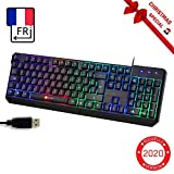 KLIM Chroma Clavier Gamer AZERTY FR + Durable, Ergonomique, Discret, Waterproof, Touches Silencieuses, USB + Clavier Filaire Rétroéclairé LED pour PC Gaming PS4 Mac + Nouvelle Version 2019 + Noir