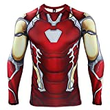 Iron Man Compression Shirt for Men's Gym Tops Cosplay Tees (Large, Endgame)