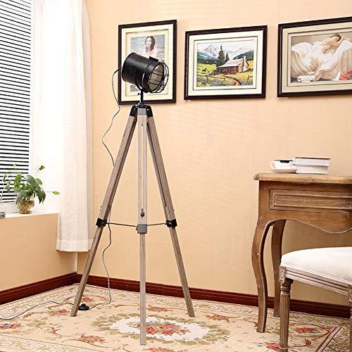 Staande lamp van massief hout, statief, staande lamp, creatieve afdekking van metaal, voor werkkamer, slaapkamer, woonkamer, retro, vloerlamp Zwart