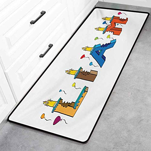 Liam Bathroom Floor Mat, English First Name in a Colorful Letter Style Cake Design with Bite Marks and Candles Floor Mat - Multicolor, 20' x 59'