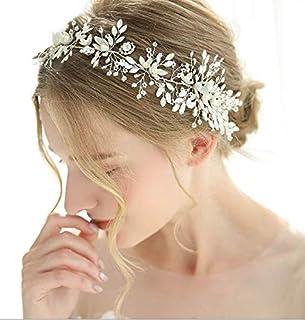 FXmimior - Fascia per capelli elegante e affascinante con perle floreali, con strass e strass, per matrimoni, feste, serat...