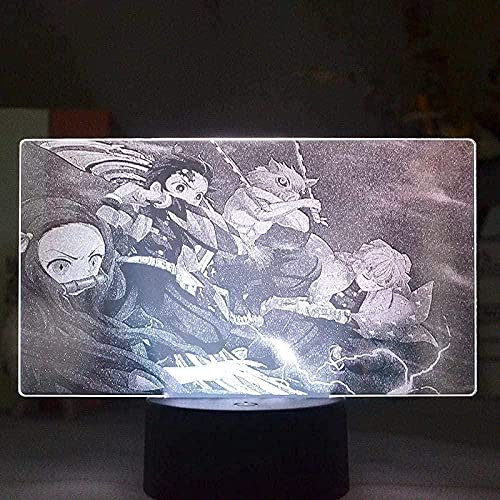 MHLYY 3D anime LED lámpara demonio Slayer equipo figura imagen noche luz para dormitorio niño decoración luz interruptor de color control táctil control táctil