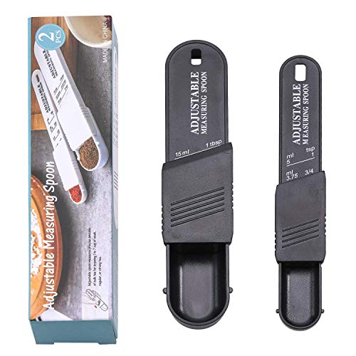 NVTED 2 PCS Adjustable Measuring Spoon Set Measuring Dry/Liquid IngredientsMetering Spoon for BakingCookingPowder Black