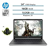 2020 Newest HP 14' Premium FHD IPS Laptop, 10th Gen i5-1035G4 (Beat i7-7500), 16GB RAM, 512GB SSD, HDMI, WiFi, Bluetooth, Windows 10 W/ Ghost Manta Gaming Mouse