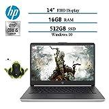 2020 Newest HP 14' Premium FHD IPS Laptop, 10th Gen i5-1035G4 (Beat i7-7500), 16GB RAM, 512GB SSD, HDMI, WiFi, Bluetooth, Windows 10 W/ Ghost Manta Gaming Mouse