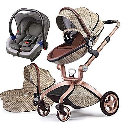 Cochecito de Bebe Hot Mom Cochecito y Sillas de paseo 3 en 1 con silla y el capazo, 2020 estilo de vida F22 asiento de carro extra comprable (Grid-3-G)