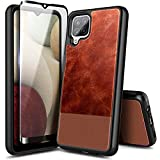 NZND Case for Samsung Galaxy A12 with Tempered Glass Screen Protector (Maximum Coverage), Premium Cowhide Leather Hybrid Defender Protective Shockproof Rugged Durable Case -Brown