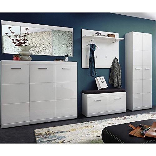 Lomado Garderobe 5-teilig ● Hochglanz Weiß ● Garderobenset: Schuhschrank, Schuhbank, Spiegel, Garderobenpaneel, Garderobenschrank ● Made in Germany