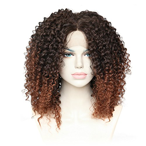 Cbwigs Afro Kinky Curly Wigs Heat Resistant 100% Fiber Ombre Brown Synthetic Lace Front Fluffy Wigs for African American Women 16 inch #2/30