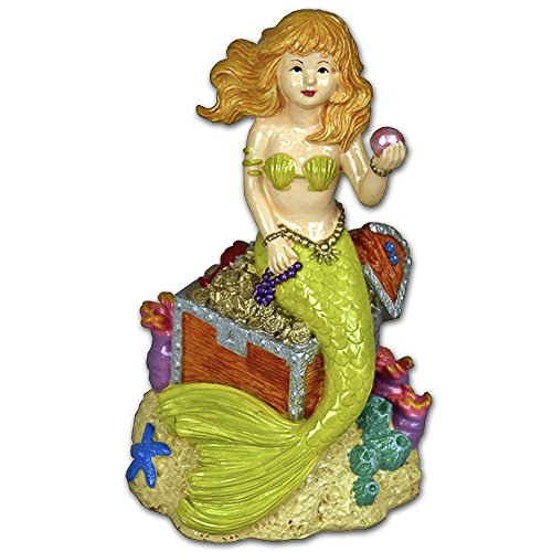 Blue Ribbon EE-102 Pet Products Exotic Environments Mermaid with Treasure Aquarium Ornament