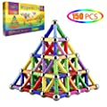 Veatree 150 Pcs Magnetic Building Sticks Blocks Toys, Magnet Educational Toys Magnetic Blocks Sticks Stacking Toys Set for Kids and Adult, Non-Toxic Building Toy 3D Puzzle with Storage Bag by Veatree