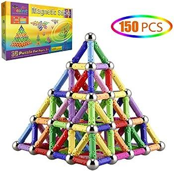Veatree 150-Pieces Magnetic Building Sticks Blocks Toys