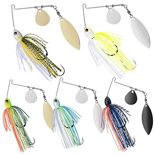Goture Spinner Baits Bass Fishing Lures/Jigs Spinnerbait Kit // Double Hooks Willow Blade Leaf//Fishing Jigs Lures Freshwater Saltwater Rooster Tail for Salmon Pike Trout Walleye(1/2/,3/8 Oz)