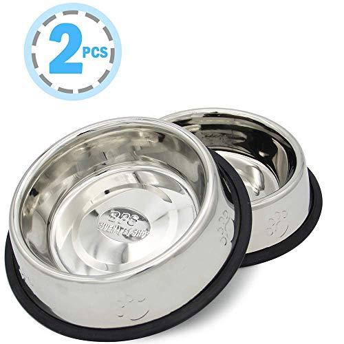 BPS® 2x Comedero Bebedero Acero Inoxidable para Perro Gato Mascotas Diámetro 3...