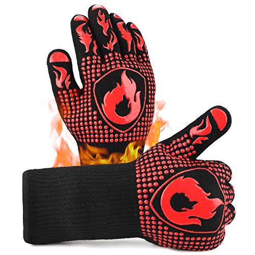 Guantes de Barbacoa,Hippodance Guantes para Horno,Guantes de Cocina BBQ Gloves Extremadamente Resistentes hasta 1472 ℉ / 800 ℃, Guantes de Barbacoa para Parrilla, Hornear, Cocina (1 Par)(Negro)