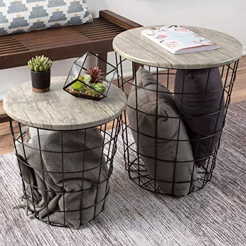 Lavish Home (Gray) Nesting End Tables with Storage