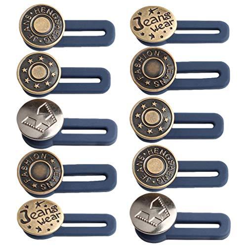 MILISTEN 10Pcs Botón Extensor de Cintura Retráctil Expansor de Cintura para Jeans Faldas Pantalones Collares Hombres Mujeres Favores (Color Aleatorio)