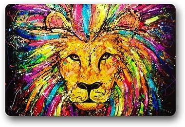 Lion Face Art Pianting Customized Doormat Entrance Mat Floor Mat Rug Indoor/Front Door/Bathroom/Kitchen and Living Room/Bedro