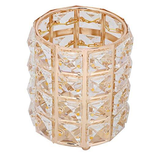 Liukouu Tube de Stockage de Brosse, métal Cristal Maquillage Pinceau Tube de Stockage Crayon à Sourcils boîte de Rangement de Bijoux Sac Organisateur
