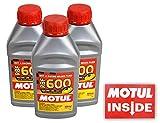 Motul (3 Pack) 100949 RBF 600 DOT 4 100% Synthetic Factory Line Racing Brake Fluid with Premium Motul Sticker (3)