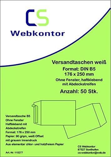 50 Stk. Versandtaschen B5 (176x250 mm) Offset weiß, ohne Fenster, Haftklebung mit Abdeckstreifen
