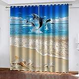 FOssIqU cortinas aislantes del calor en 3D 46x54inch Ballena animal de playa Aislamiento acústico y prevención de ruido con cortinas de dormitorio perforadas, cortinas de decoración del hogar, 2 panel