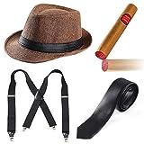 Ensemble d'accessoires pour homme Beelittle, des années 1920, chapeau Manhattan, bretelles Y-Back, cravate Gangster, cigare Fake Puff Toy