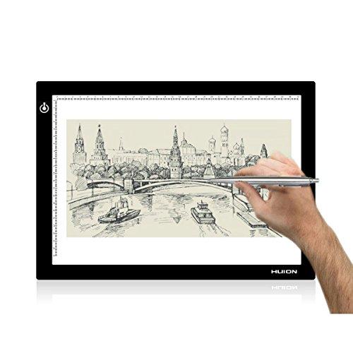 Huion L4S Caja de luz para calcar, 36 x 27cm, tamaño A4, LED, Iluminación ajustable, ideal para animacion, tatoo, dibuja