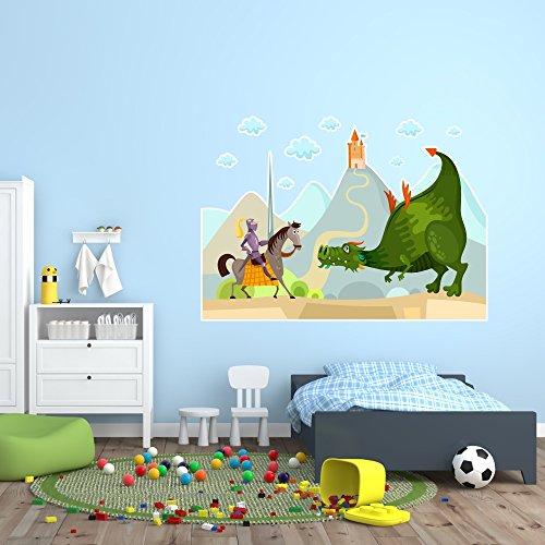 malango® Wandbild Ritter Drache Pferd Lanze Kinderzimmer Wanddekoration Märchenwelt Schloss Burg Kinderwelt Wandsticker ca. 120 x 85 cm