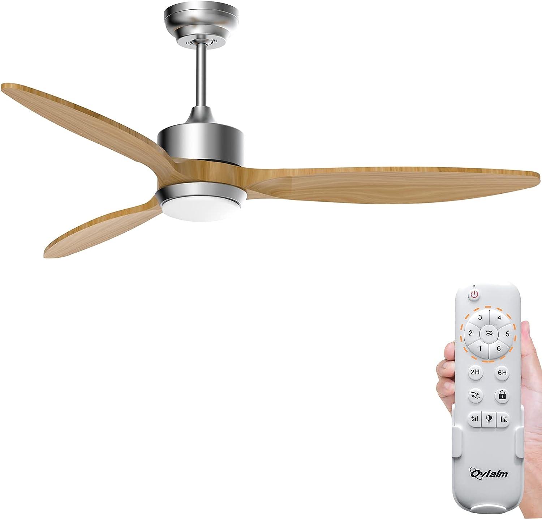 Ovlaim Ventilador de Techo con Luz Silencioso y Mando a Distancia, LED Lámpara 3 Temperatura de Color Regulable, Motor DC 6 Velocidades Ventiladores de Techo Modernos, 3 Aspas de Madera Natural