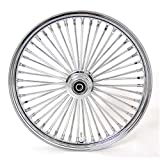 Demon's Cycle 21' x 3.5' Chrome 48 Fat Spoke Front Wheel, Compatible with Harley-Davidson Single Disc
