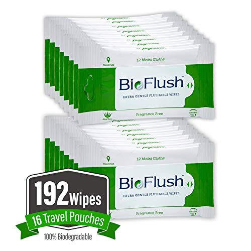 BioFlush 100% Biodegradable Flushable Wipes in a Slim Travel Size Pouch, Unscented & Alcohol Free, Comfortable & Soothing for a Clean and Gentle Wash Anywhere! Product of U.S.A.