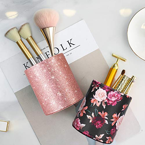 Pen Pencil Holder, WAVEYU Floral Flower Pattern Pen Cup Container PU Leather Desk Organizer Stand Decor Brush Scissor Holder Desk Organizer Decoration for Office Desk Home Decorative, Floral Photo #6