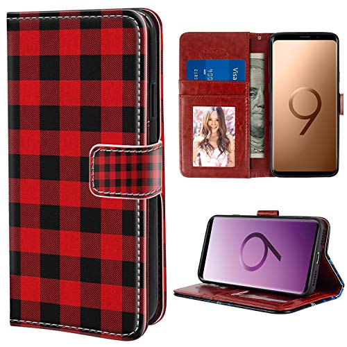 Wallet Case Fit Galaxy Note 9 [6.4-Inch] Plaid,Lumberjack Fashion Buffalo Style Checks Pattern Retro Style with Grid Composition, Scarlet Black for Girl