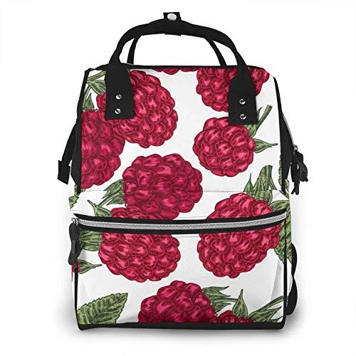 ZSMJ Mommy Bag Big - Pañal de bebé funcional grande bolsa de viaje para el cuidado del bebé bosquejado bayas maduras rama de frambuesa