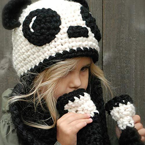 GLXQIJ Conjunto De 2 Piezas, Sombrero De Punto Y Bufanda, Blanco Negro, Dibujos Animados Lindo Panda Cálido A Prueba De Viento A Prueba De Viento, para Niño Niño Niño 5-10 Años