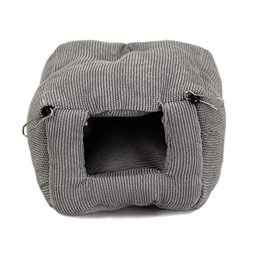 LeerKing Pet Hammock Hamster Hanging Bed with Sofa Mat for Cage Fluffy Corduroy Small Hammock Swing for Small Rat, Hamster and Other Small Pet Baby Playing and Resting, Grey