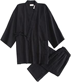 メンズ パジャマ 甚平(じんべい) 深夜食堂スタイル 無地 長袖 前開き 部屋/旅館/ホテル/介護に適用 肌にやさしい綿100% 作務衣(さむえ) 春夏秋 上下セット