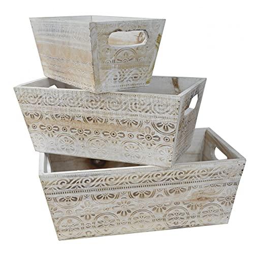 HOGAR Y MAS Macetero Decorativo de Madera Vintage Set 3, Cajas de Almacenamiento para Jardín 17,5x29x11,5 cm