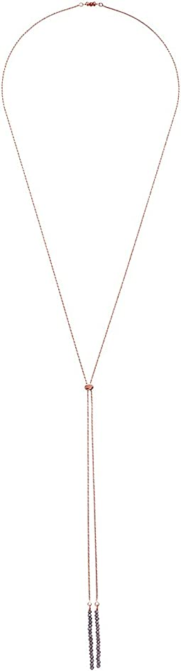 Bolo Convertible Necklace Sterling Silver 14KT Rose Gold with Coated Quartz