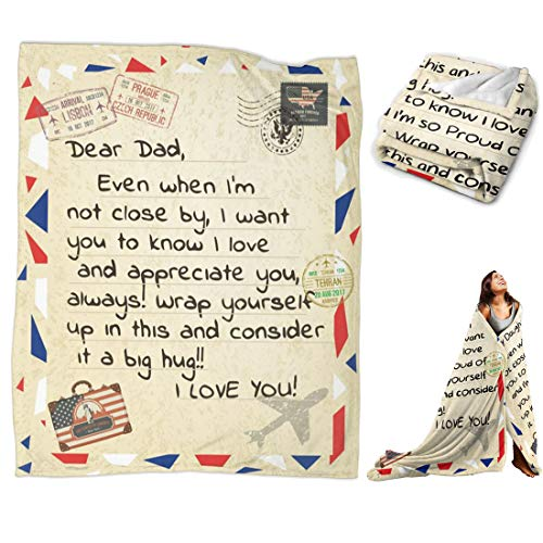to Dad from Daughter Son Throw Blanket Personalized I Love You Gift for Recovery Healing Keep Health (to Dad, 60'x50' for Teens)