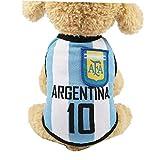 Pequeña Ropa para Perros De Fútbol De Malla Transpirable Camiseta Aficionados Perros Traje Nacional De Fútbol De Holanda De Fútbol para Perros Mascotas Gatos- Argentina - XS