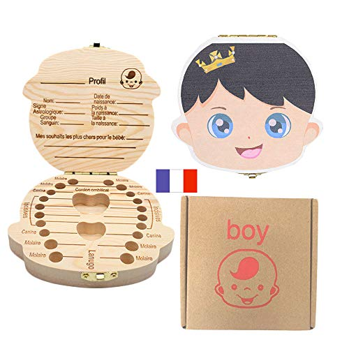 Boîte à dents pour enfants, boîte de rangement pour dents de bébé Sauvegarder dans une boîte de rangement en bois Boîte à souvenirs à feuilles caduques personnalisée