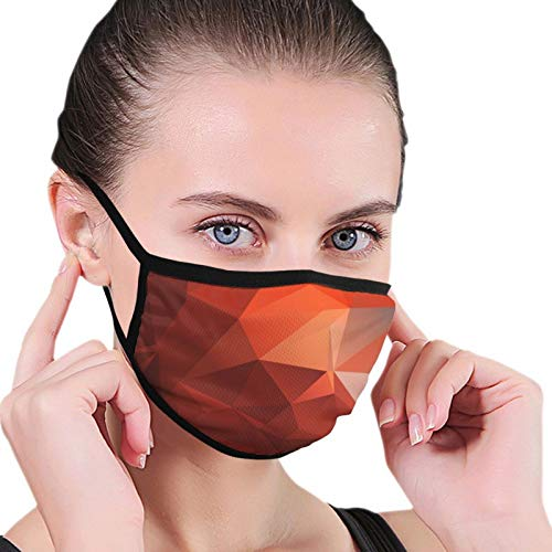Adults Boys Girls Dustproof Windproof Face Mask for Outdoor, Reusable Mouth Scarf with Adjustable Earloop (Red Abstract Block Mouth Shields)