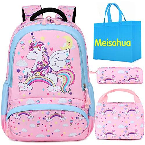Mochila Unicornio Niños Impermeable Mochila Escolar para Adolescente Pequeñas Mochilas Infantil Bolso para Chicas para La Escuela,Viajes,Intemperie Juego de 3 - Pink