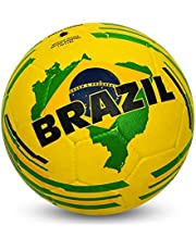 Nivia Brazil Country Color Rubber Football, Size 5 (Yellow)